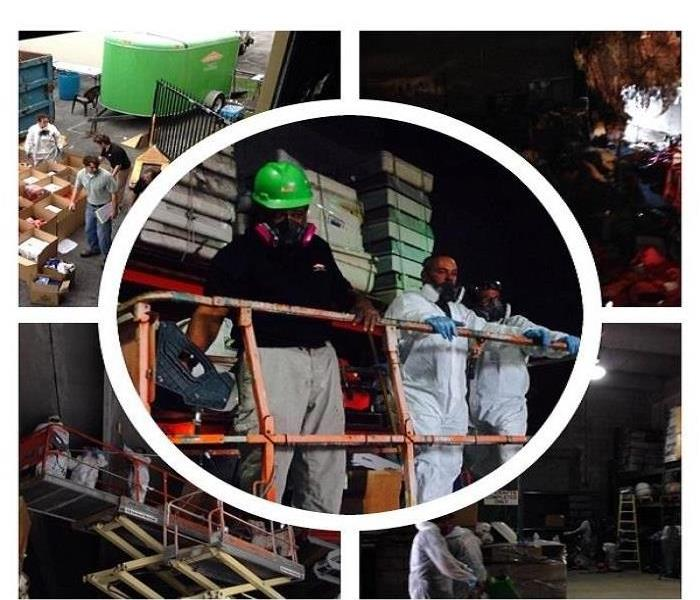 Picture collage, workers using protective gear while working on a warehouse damaged by fire
