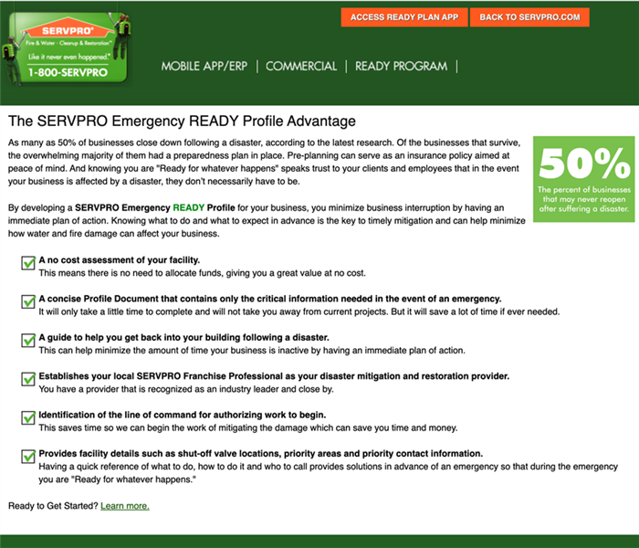 Information of an emergency ready profile from SERVPRO